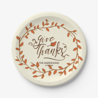 Give Thanks. Thanksgiving. Custom Name and Date. Paper Plate