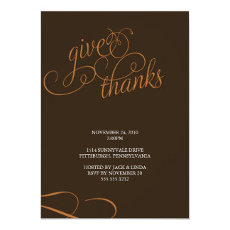 give thanks {thanksgiving dinner invitation} 13 cm x 18 cm invitation card