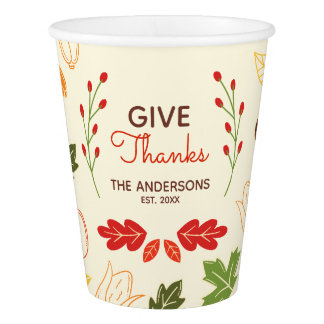 Give Thanks. Thanksgiving Family Celebration. Paper Cup