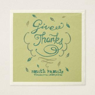Give Thanks Thanksgiving Family Dinner Celebration Disposable Napkin
