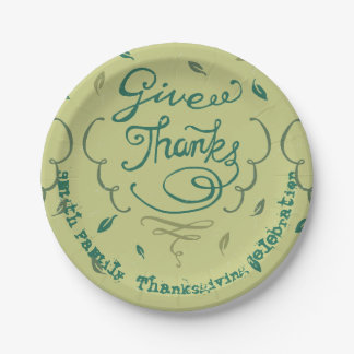 Give Thanks Thanksgiving Family Dinner Celebration Paper Plate