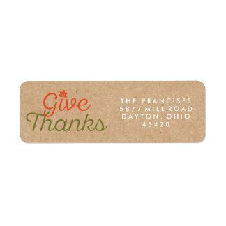 Give Thanks Thanksgiving Kraft Paper Address Label