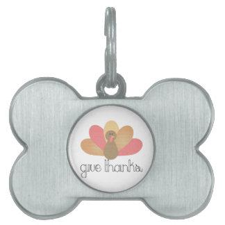 give thanks thanksgiving turkey pet tag