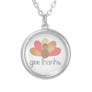 give thanks thanksgiving turkey silver plated necklace