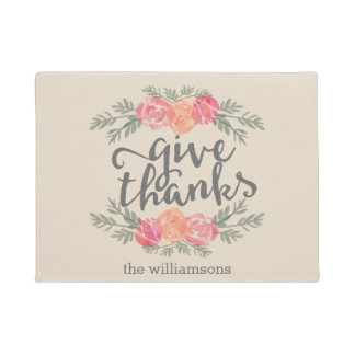 Give Thanks | Thanksgiving Watercolor Personalized Doormat