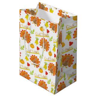 Give Thanks Turkey Medium Gift Bag