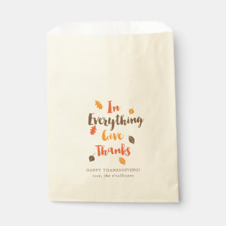 Give Thanks Typographic Autumn Leaves Favour Bags