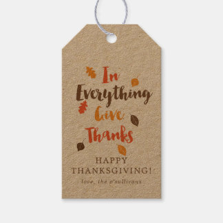 Give Thanks Typographic Autumn Leaves Gift Tag
