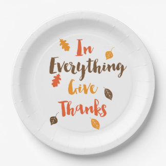 Give Thanks Typographic Autumn Leaves Paper Plates