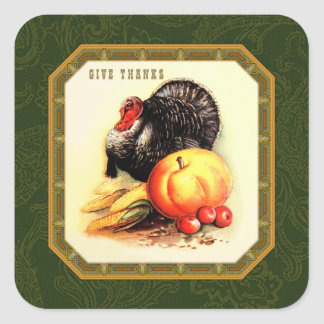 Give Thanks. Vintage Design Thanksgiving Stickers