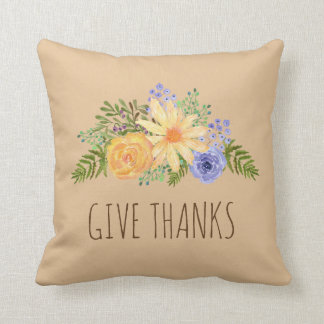 Give Thanks Watercolor Fall Floral Thanksgiving Cushion