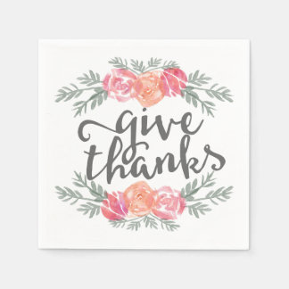 Give Thanks   Watercolor Floral Thanksgiving Disposable Napkin