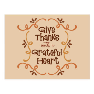 Give thanks with a grateful heart postcard