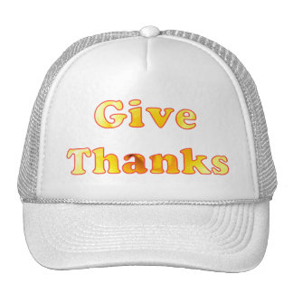 Give thanks, word art with yellow lily, hats
