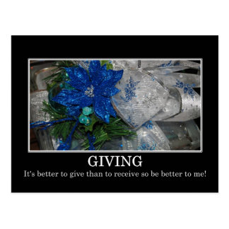 Give unto me and improve your life postcard