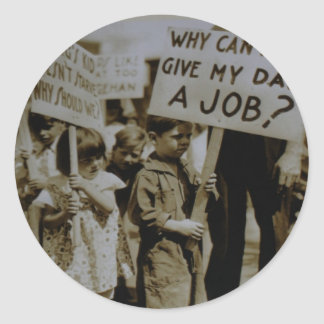 Give Us Jobs Depression Era Sticker
