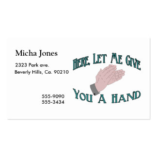 Give You A Hand Business Card Templates