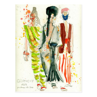 Givenchy Fashion Show Paris - fashion illustration Postcard