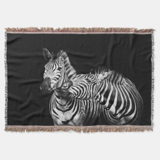 Gives-a-kiss-zebras Throw Blanket