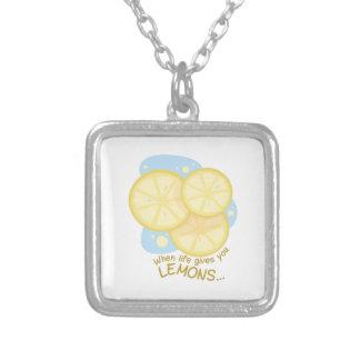 Gives You Lemons Square Pendant Necklace