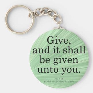 Giving Luke 6-38 Key Ring