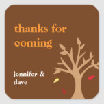Giving thanks falling leaves tree Thanksgiving tag Square Sticker