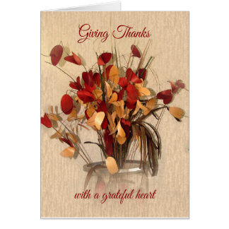 Giving Thanks Thanksgiving card floral