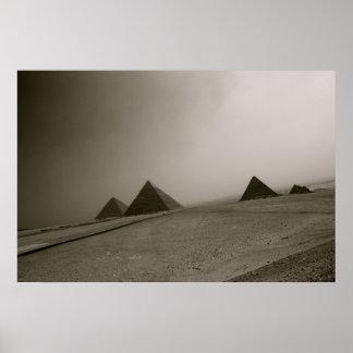 Giza Pyramids Black & White Poster