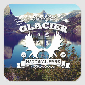 Glacier Camper Square Sticker
