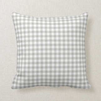 Glacier Gray Gingham Pattern Throw Pillow