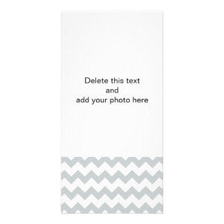 Glacier Gray White Chevron Pattern Customised Photo Card