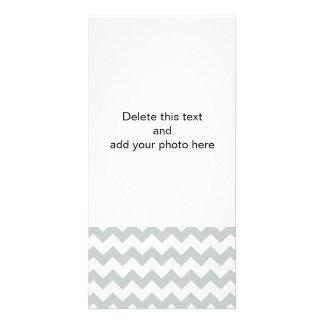 Glacier Gray White Chevron Pattern Photo Card Template