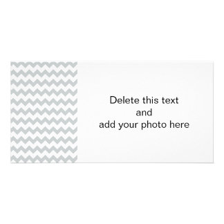 Glacier Gray White Chevron Pattern Picture Card