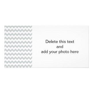 Glacier Gray White Chevron Pattern Picture Card