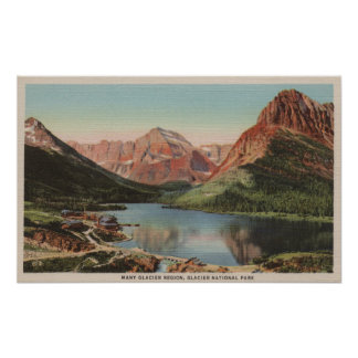 Glacier, MT - View of the Many Glacier Region Poster