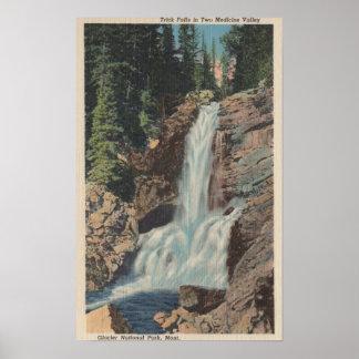 Glacier, MT - View of Trick Falls & Medicine Print