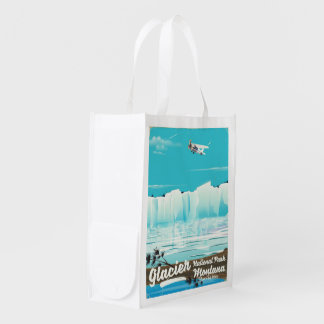 Glacier National Park, Montana vintage poster Reusable Grocery Bag