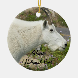 Glacier National Park Mountain Goat Ceramic Ornament