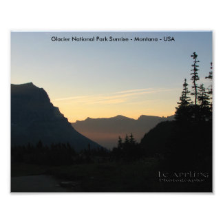 Glacier National Park Sunrise Art Print 8x10 Photographic Print