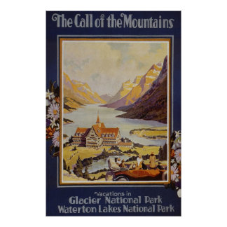 Glacier National Park Waterton Lakes Poster