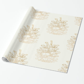 Glad Christmas Kiefernzapfen I gold Wrapping Paper