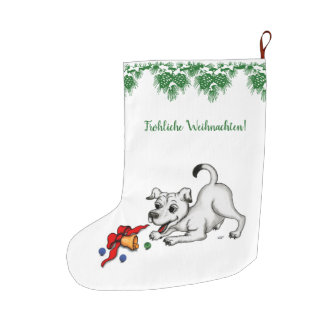 Glad Christmas! Puppy with bell and ball Large Christmas Stocking