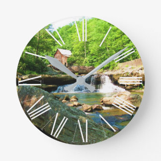 GLADE CREEK GRIST MILL ROUND CLOCK