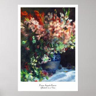 Gladioli in a Vase Pierre Auguste Renoir painting Poster