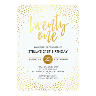 GLAM 21ST BIRTHDAY PARTY mini gold confetti black Card