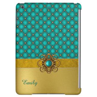 Glam Aqua and Gold iPad Air Case