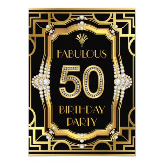 Glam Art Deco Fabulous 50 Birthday Party 11 Cm X 16 Cm Invitation Card