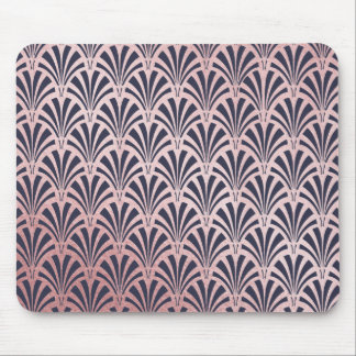 Glam Art Deco Pattern | Faux Rose Gold and Blue Mouse Pad