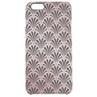 Glam Art Deco Rose Gold and Black Elegant Pattern Clear iPhone 6 Plus Case
