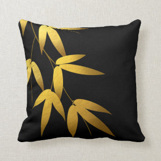Glam Bamboo Leaves Gold Foil | black Cushion